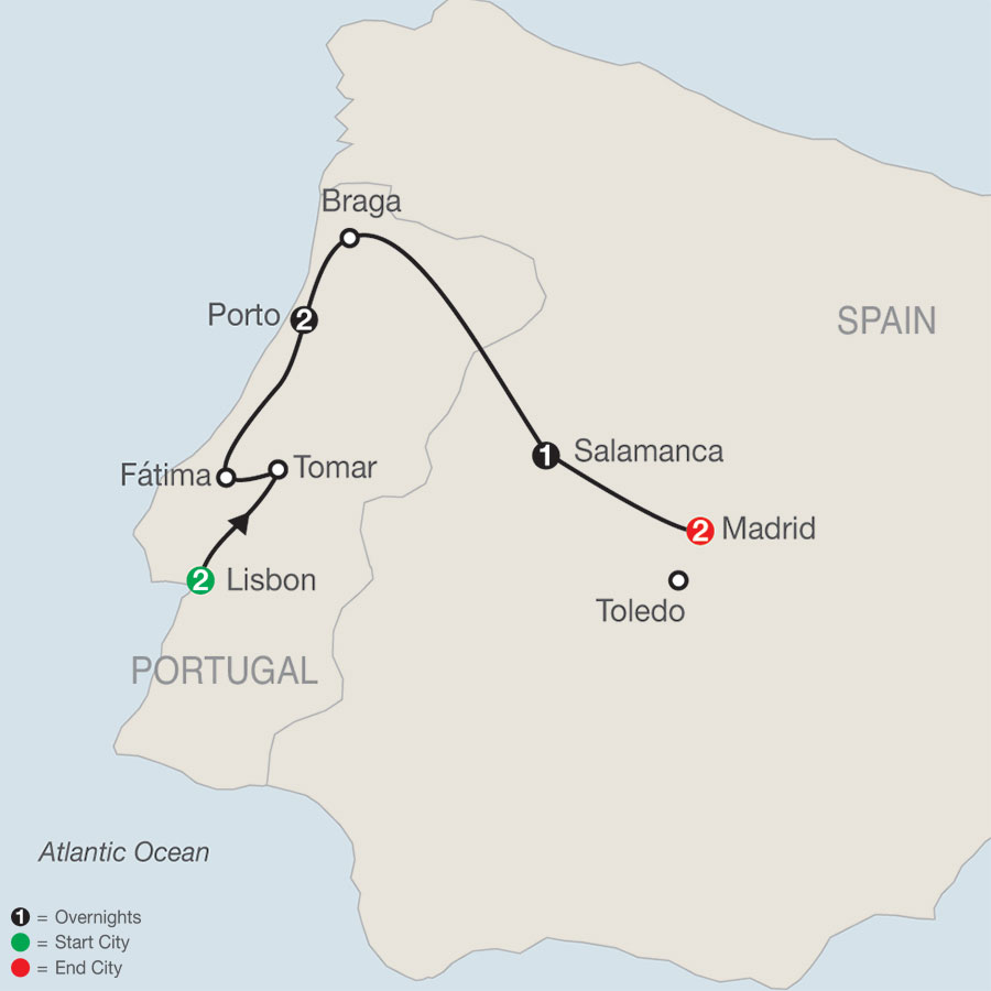 Lisbon to Madrid Escape map