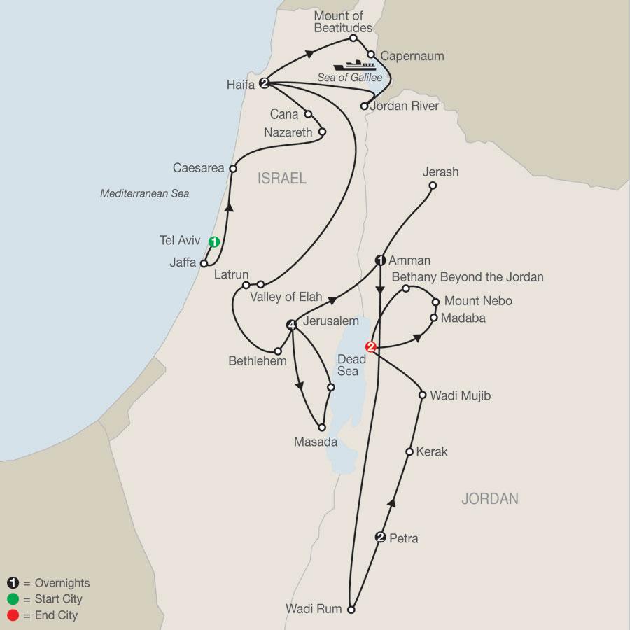 Israel & Jordan Escape map