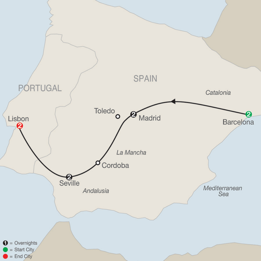 Spain & Portugal Escape map