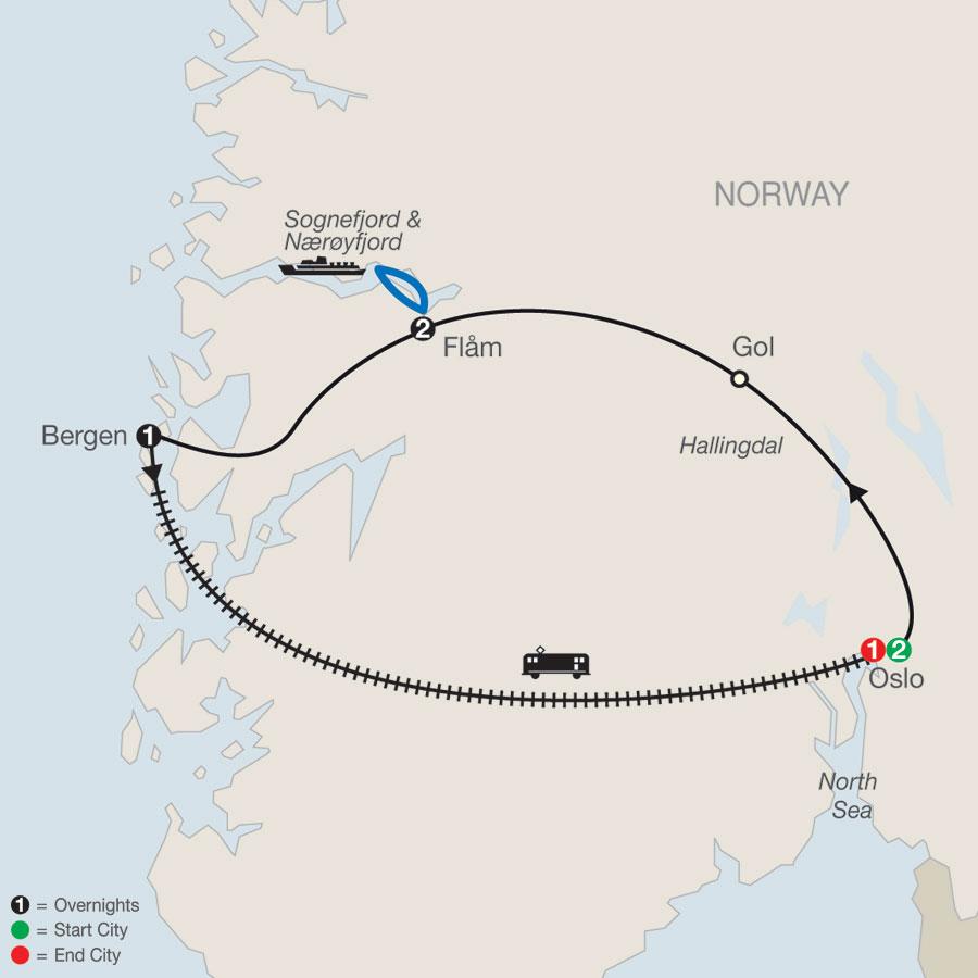 Norwegian Fjords Escape map