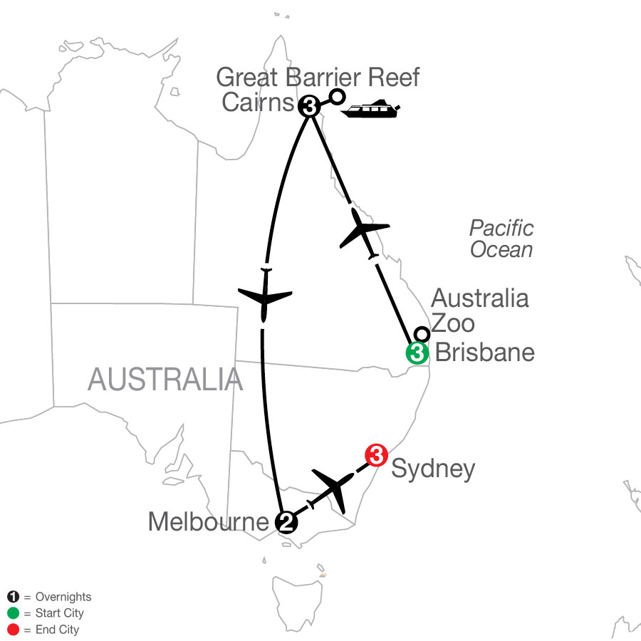 Great Sights of Australia map