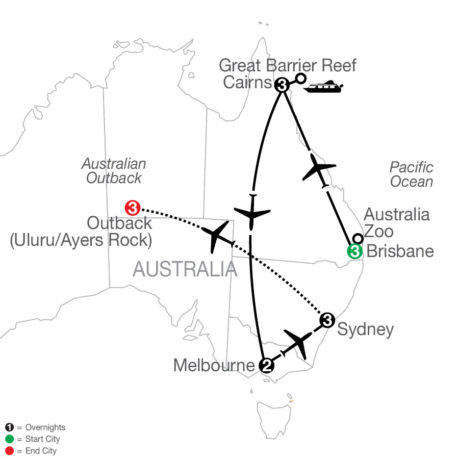 Great Sights of Australia with the Outback map