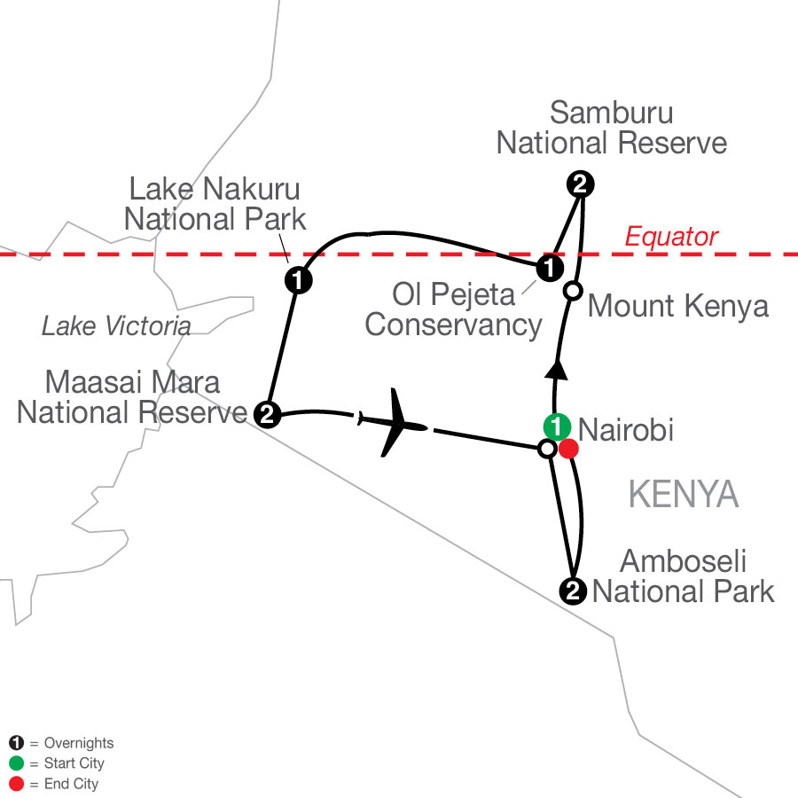 Kenya: A Classic Safari with Amboseli map
