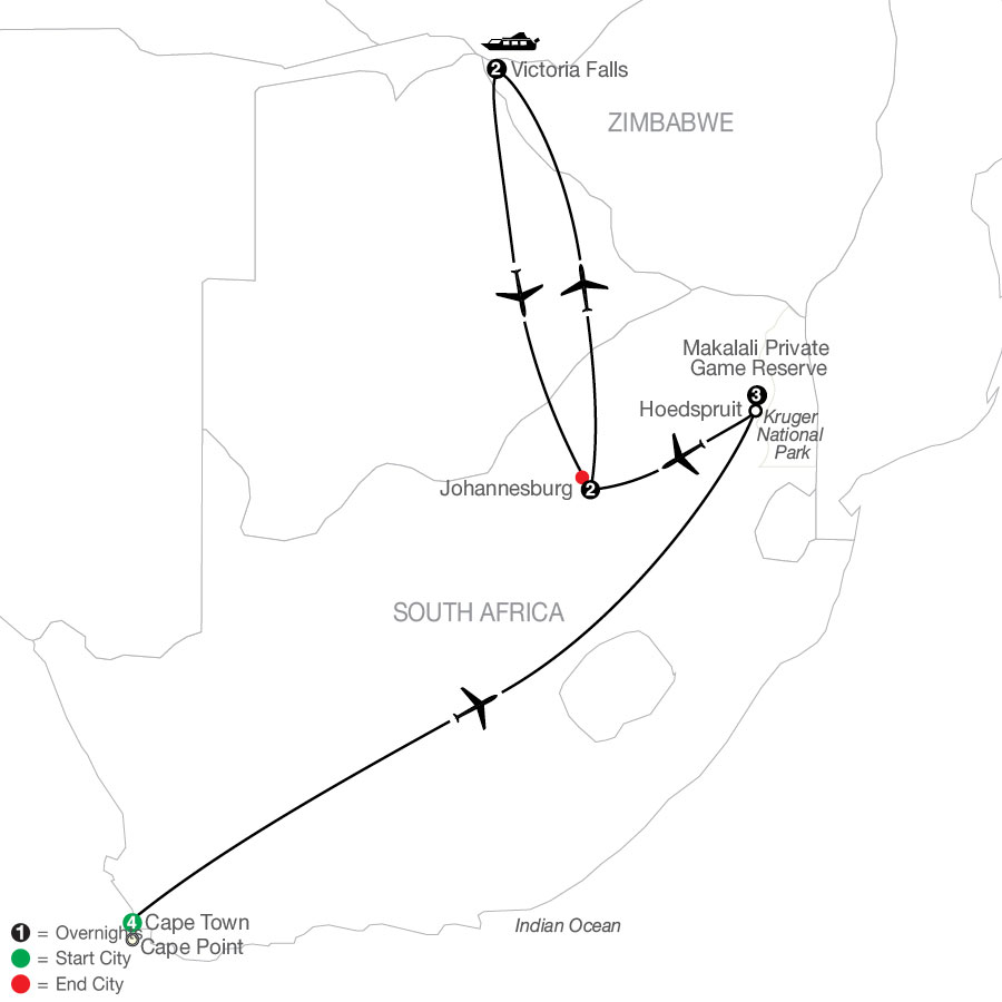 Splendors of South Africa & Victoria Falls map
