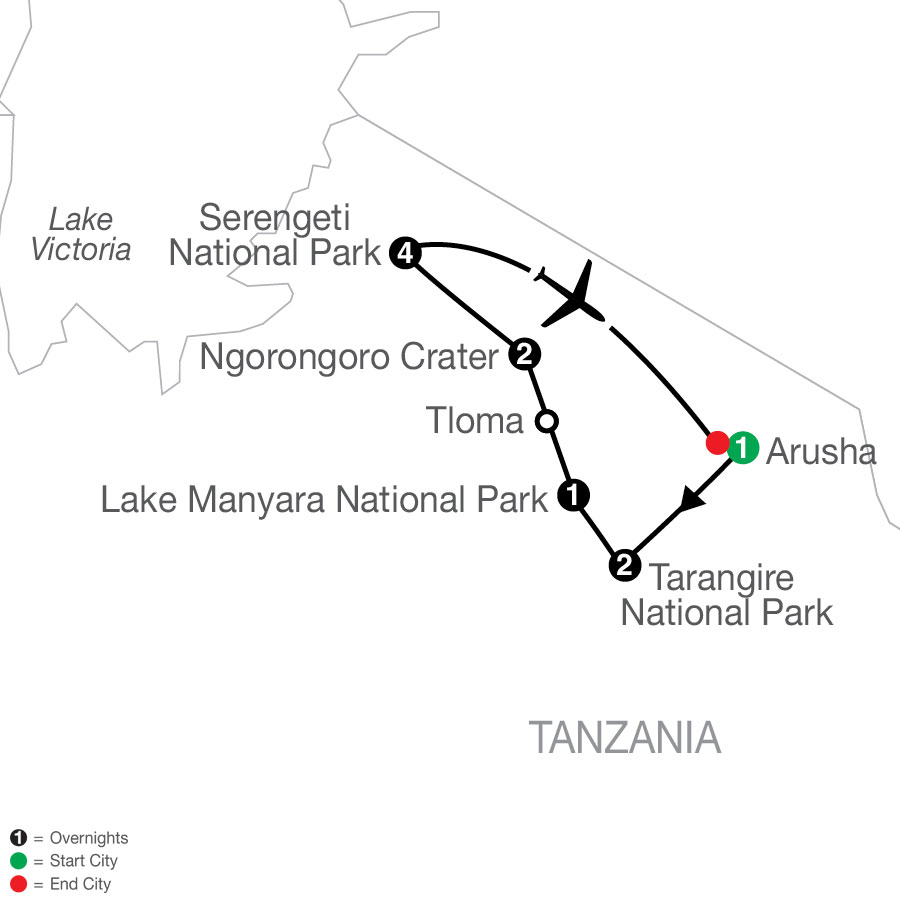 Tanzania: The Serengeti & Beyond with Serengeti Extended stay map