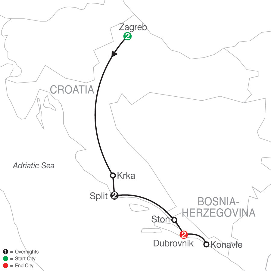 A Taste of Croatia map