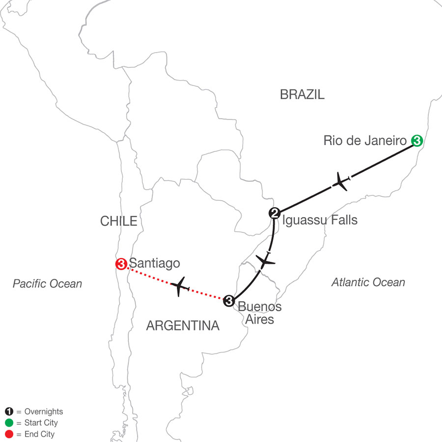 South America Getaway with Santiago map