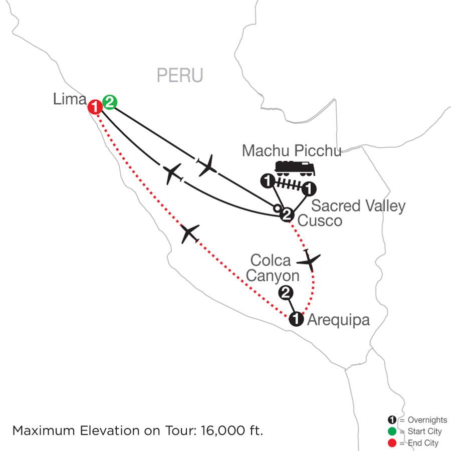 Peru Splendors with Arequipa & Colca Canyon map