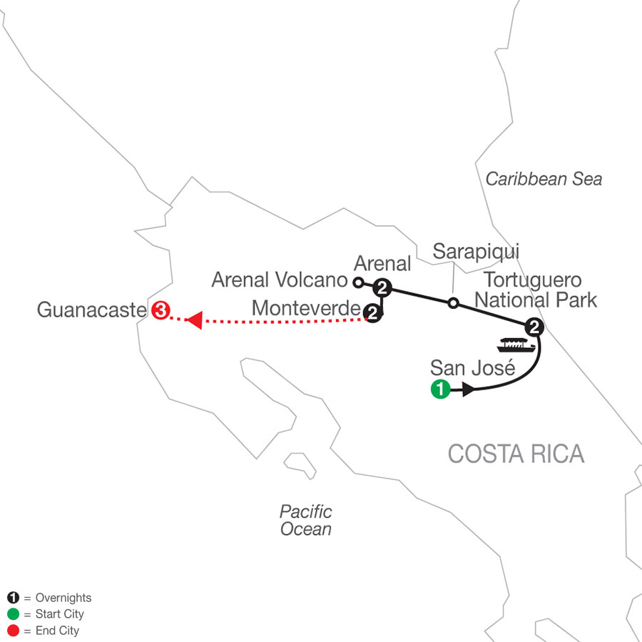 Natural Wonders of Costa Rica with Guanacaste map