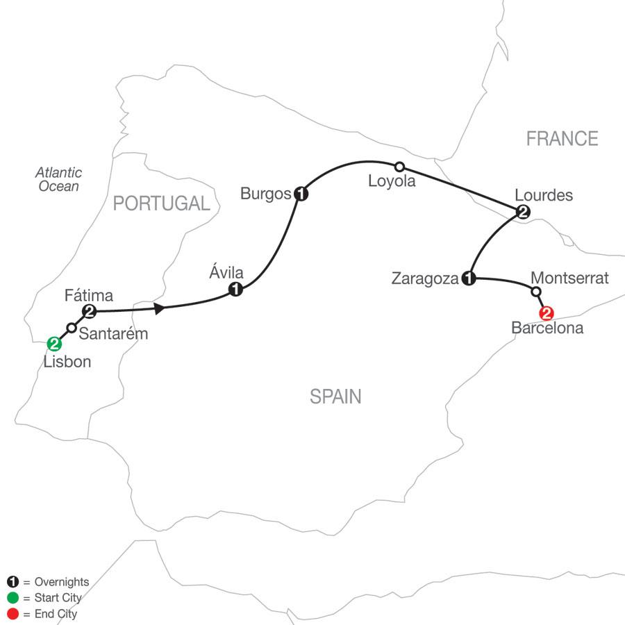 Shrines of Portugal, Spain & France - Faith-Based Travel map