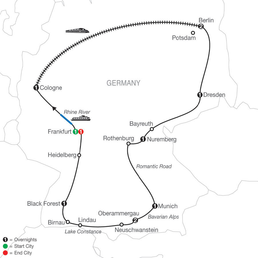 German Highlights map