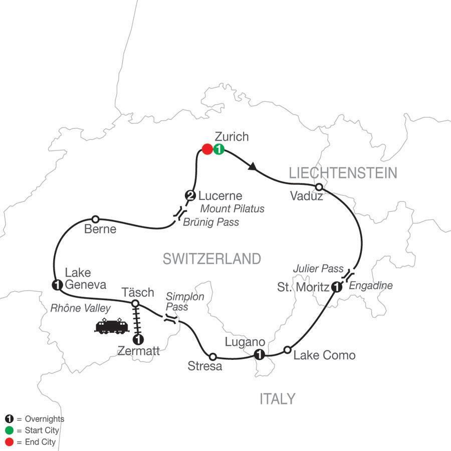 The Best of Switzerland map