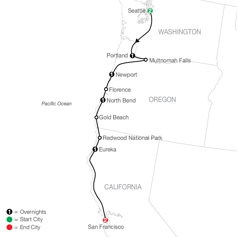Pacific Coast Adventure map