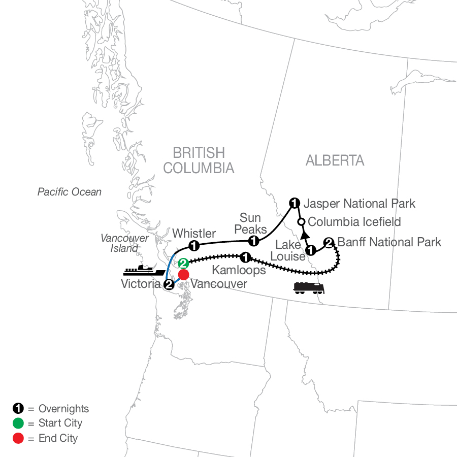 Spirit of the Rockies map