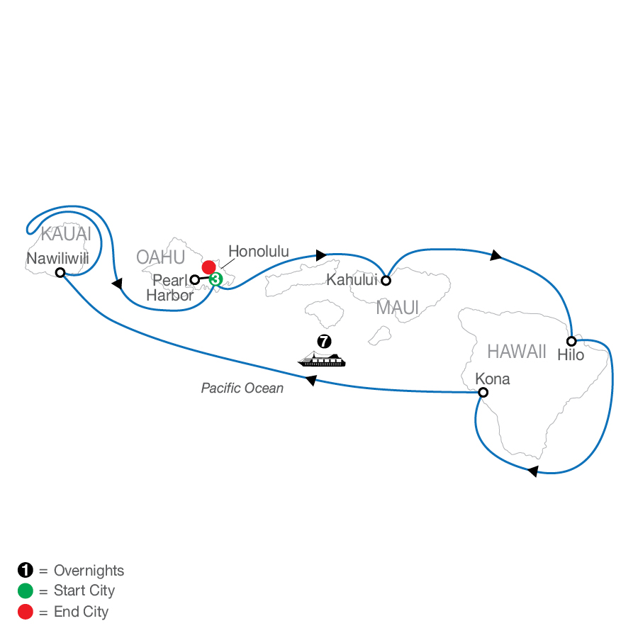 Cruising Hawaii's Paradise with Sheraton Princess Kaiulani map