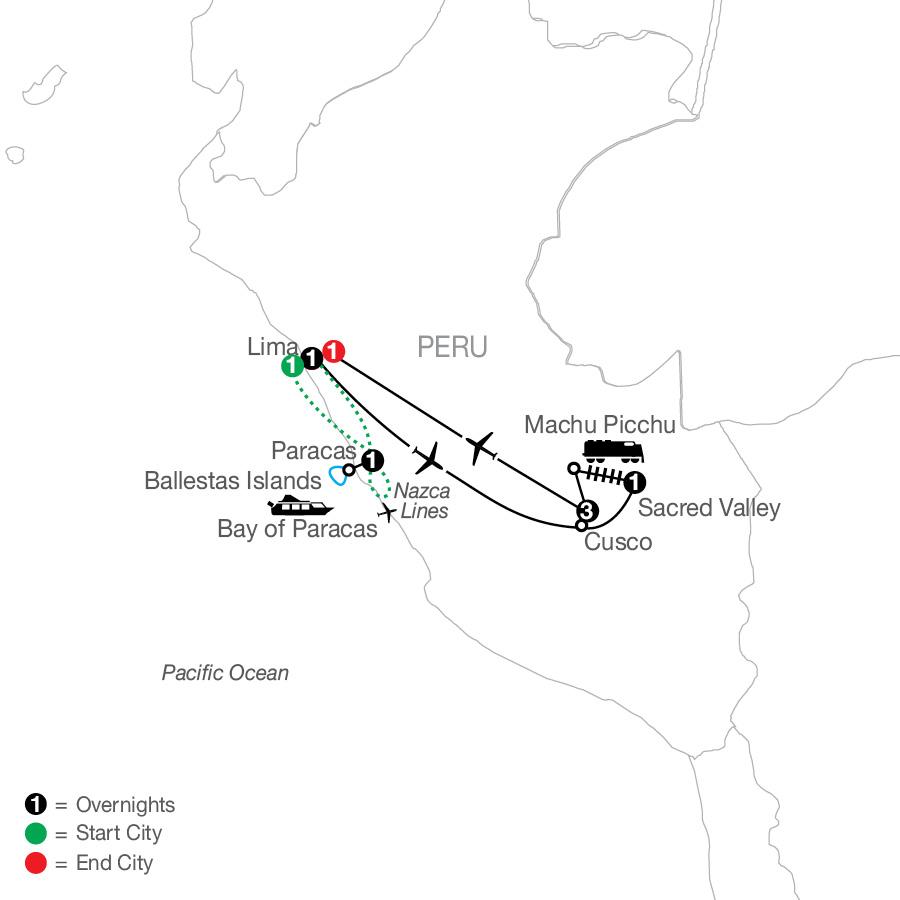 Peru Escape with Nazca Lines map