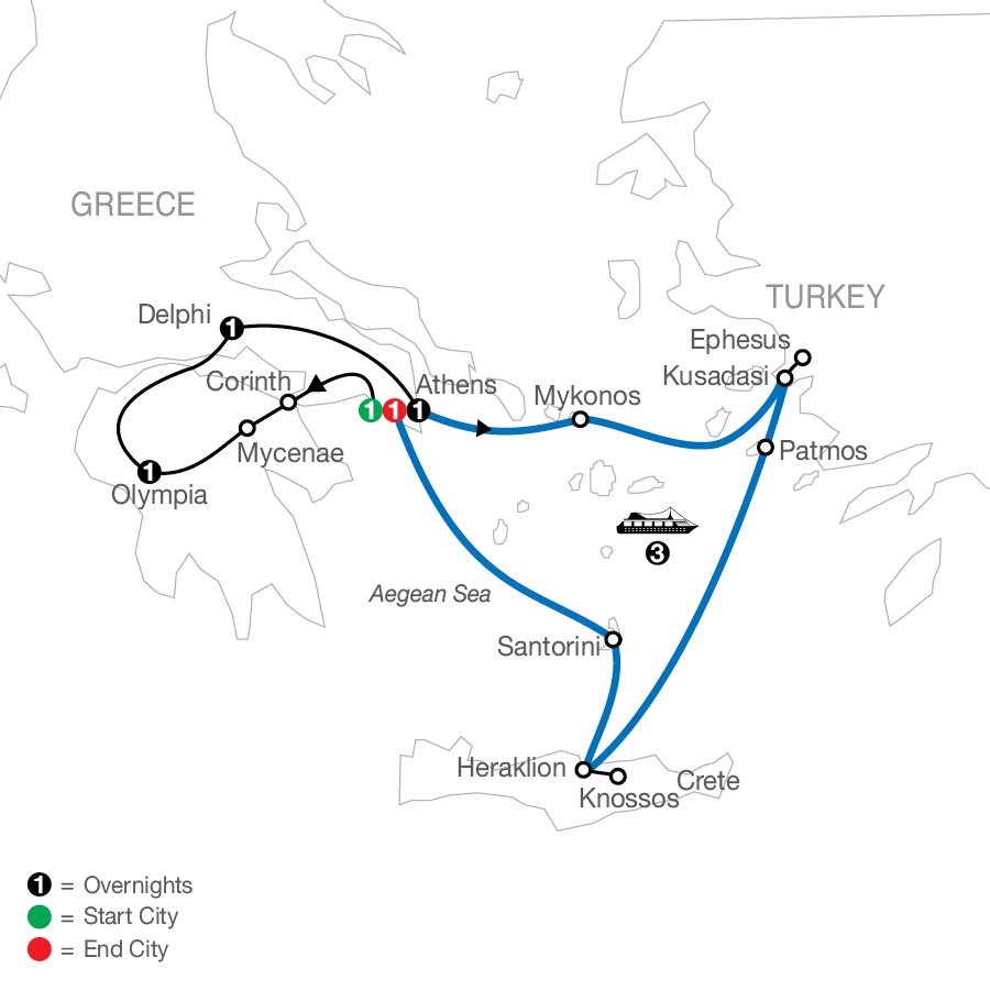 Highlights of Greece Escape plus 3-night Iconic Cruise map