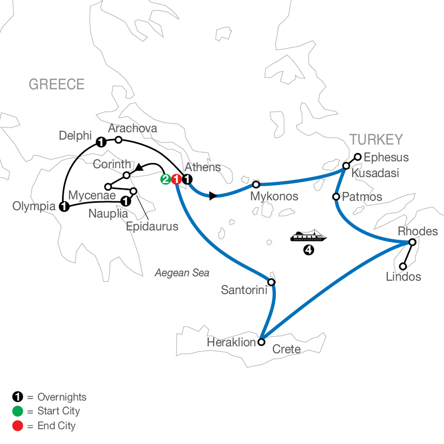 Greek Escape plus 4-night Iconic Cruise map