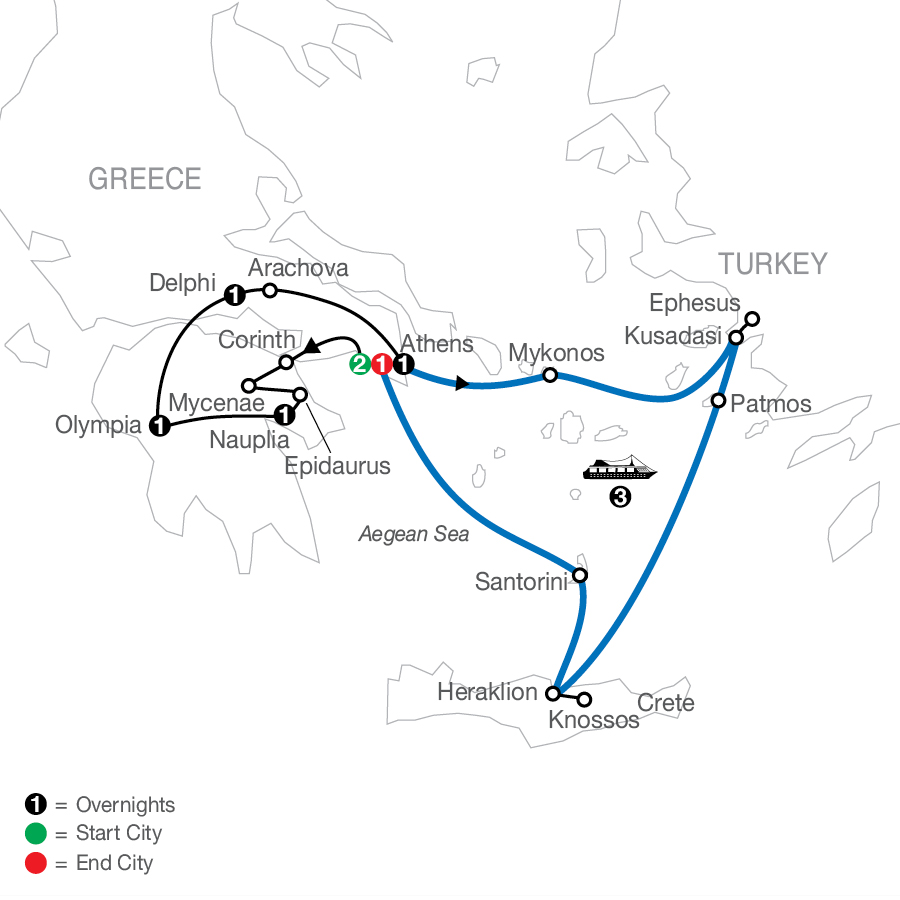 Greek Escape plus 3-night Iconic Cruise map