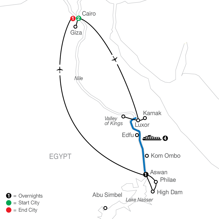 Egyptian Escape with Nile Cruise map