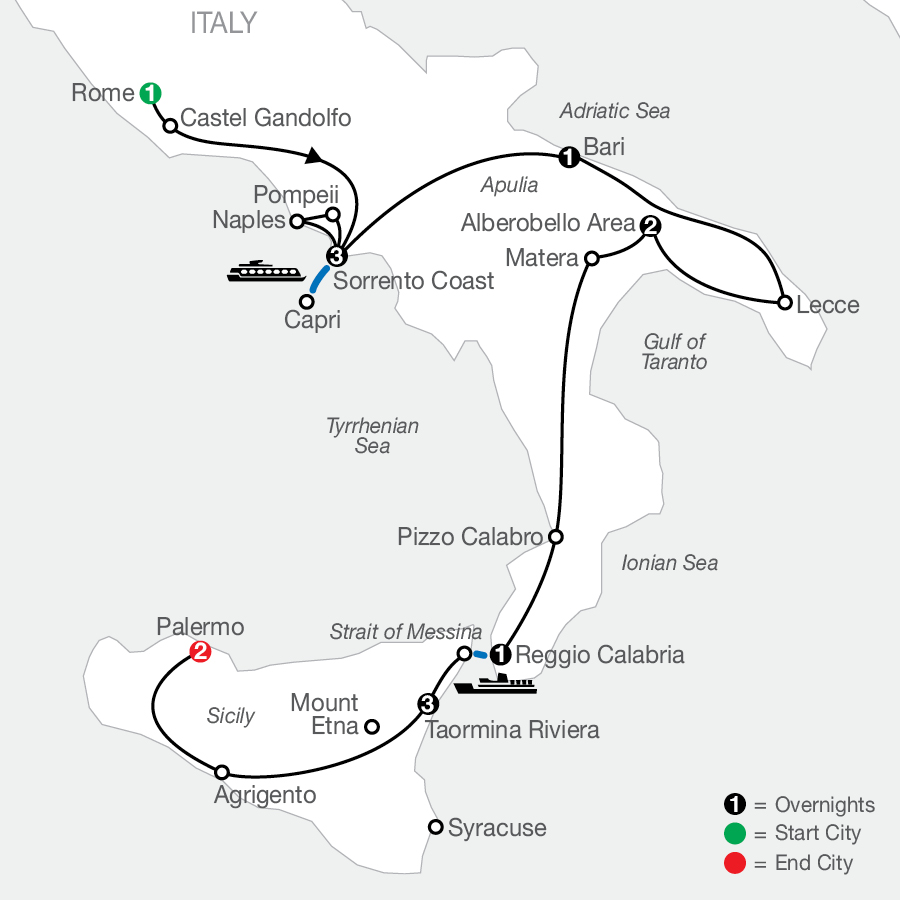 Highlights of Sicily & Southern Italy map
