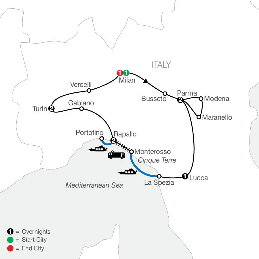 Northern Italy's Highlights & Cinque Terre map