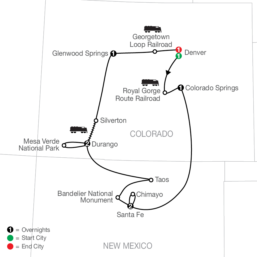 Historic Trains of the Old West map