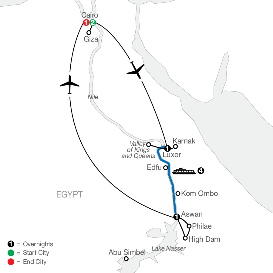 Egypt with Nile Cruise map