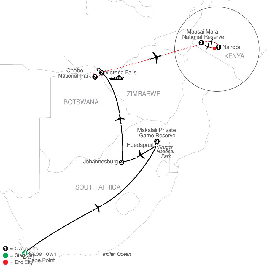 Splendors of South Africa & Victoria Falls with Chobe National Park & Maasai Mara