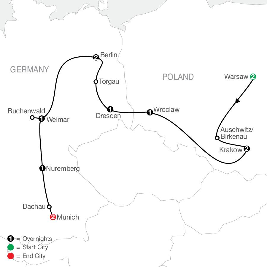 Poland, East Germany & World War II map