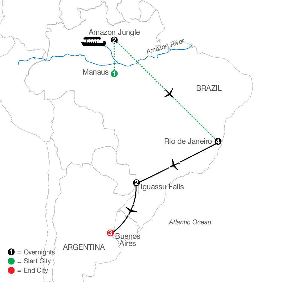 South America Getaway with Amazon map