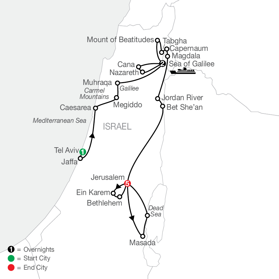Journey Through the Holy Land - Faith-Based Travel map