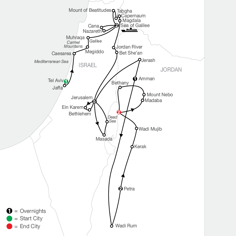 Journey Through the Holy Land with Jordan - Faith-Based Travel map