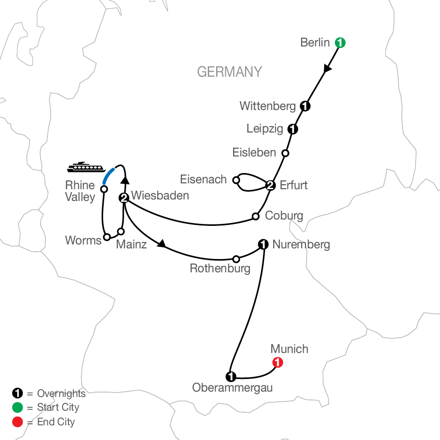 The European Reformation with Oberammergau - Faith-Based Travel map