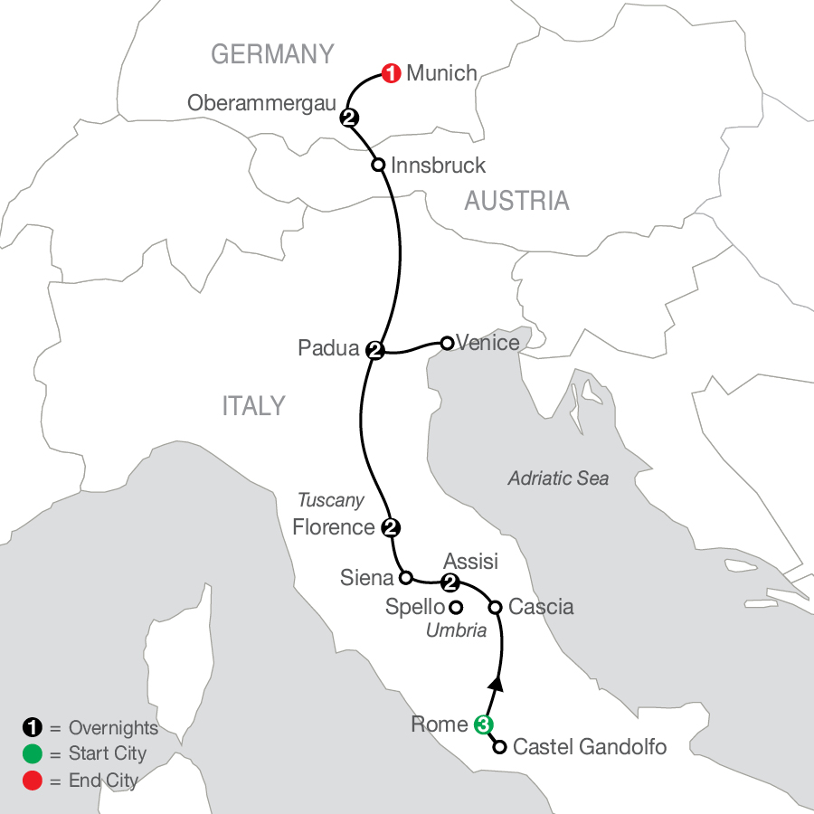 Grand Catholic Italy with Oberammergau - Faith-Based Travel map