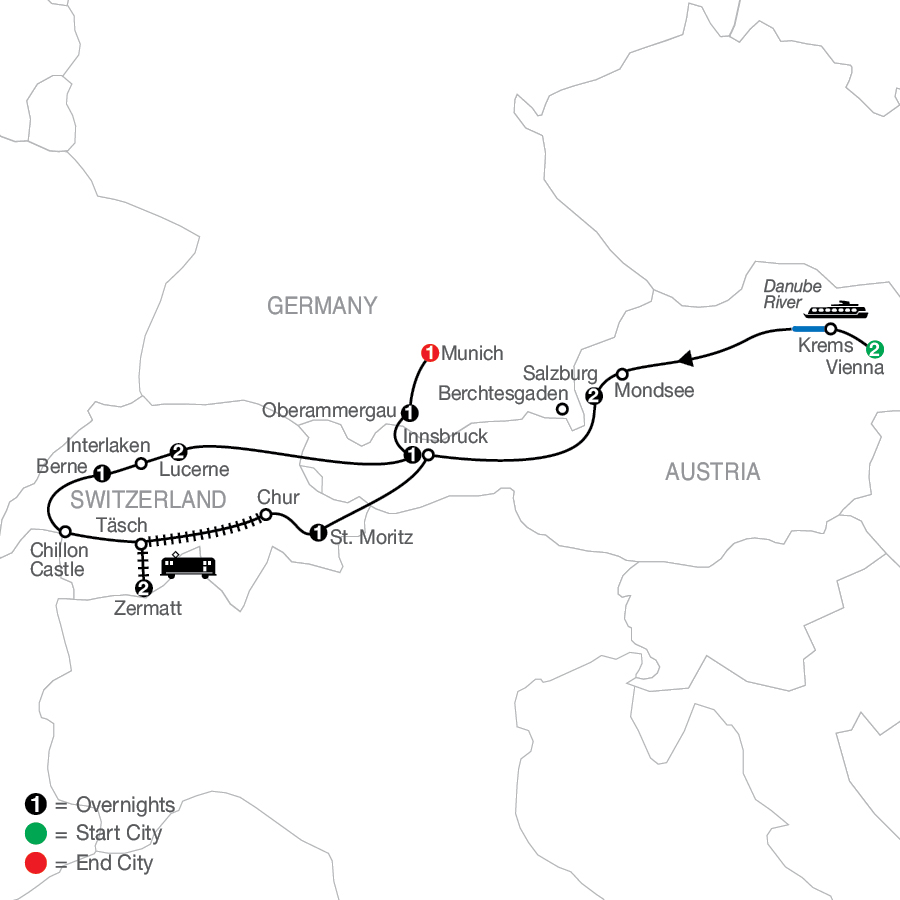 The Best of Austria & Switzerland with Oberammergau - Faith-Based Travel map