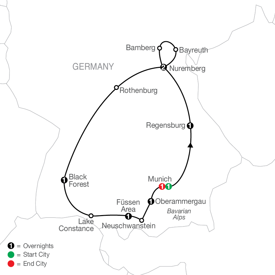 Bavarian Highlights with Oberammergau - Faith-Based Travel map