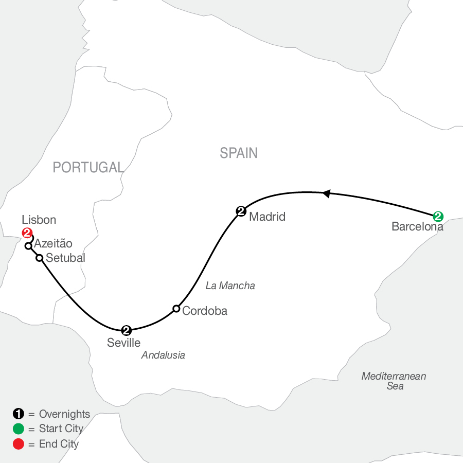Highlights of Spain and Portugal map