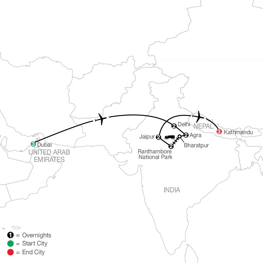 Icons of India: The Taj, Tigers & Beyond with Dubai & Kathamandu