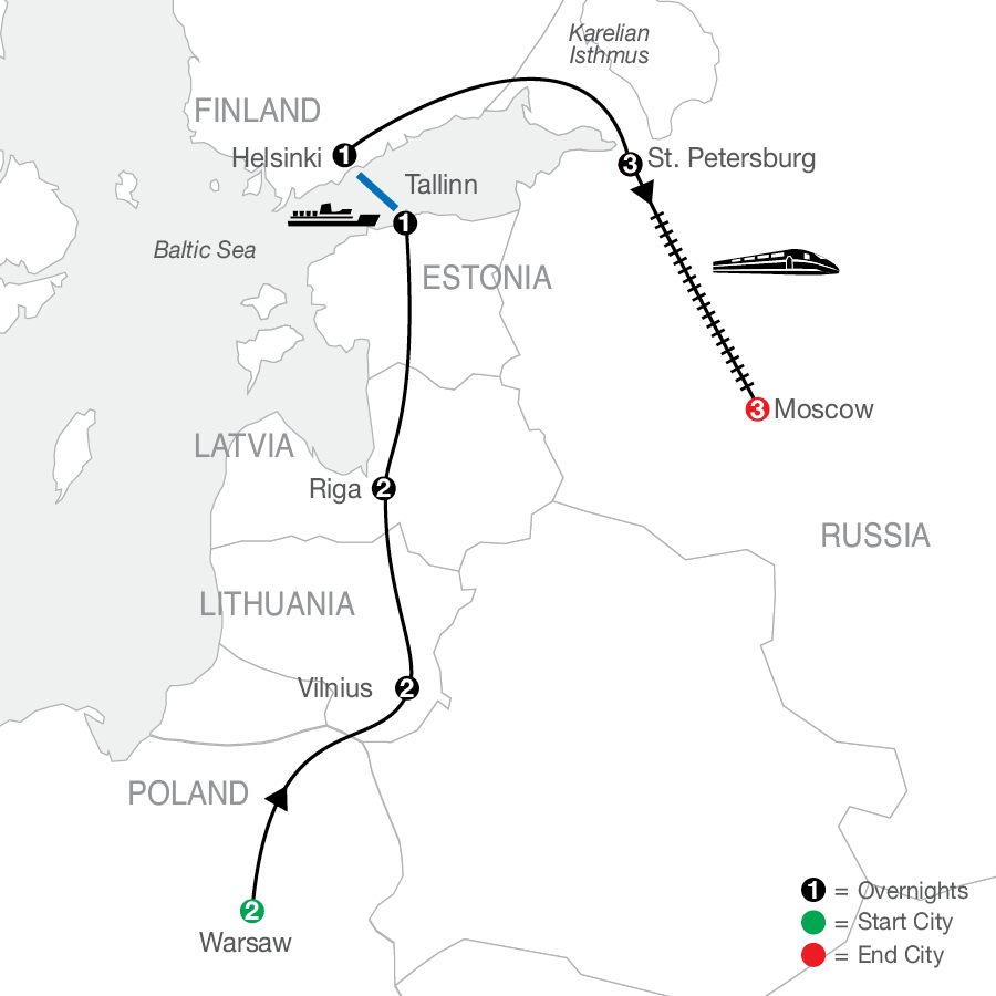 Warsaw, the Baltics & Helsinki with St. Petersburg & Moscow