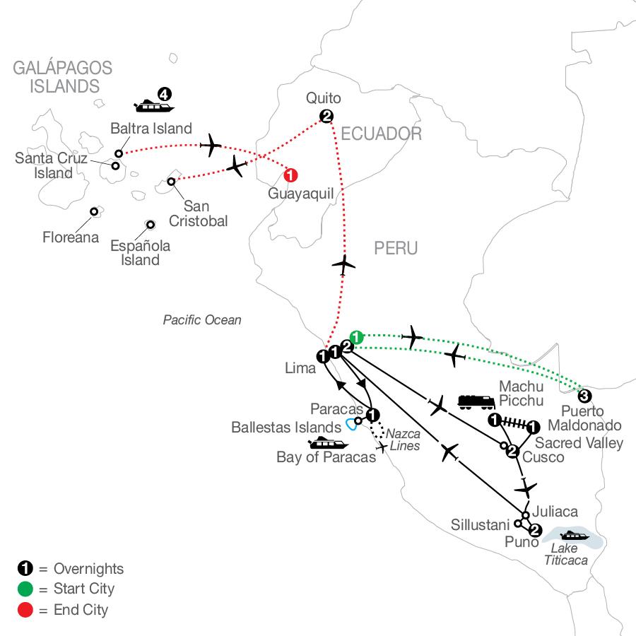 Legacy of the Incas with Peru's Amazon & Galápagos Cruise