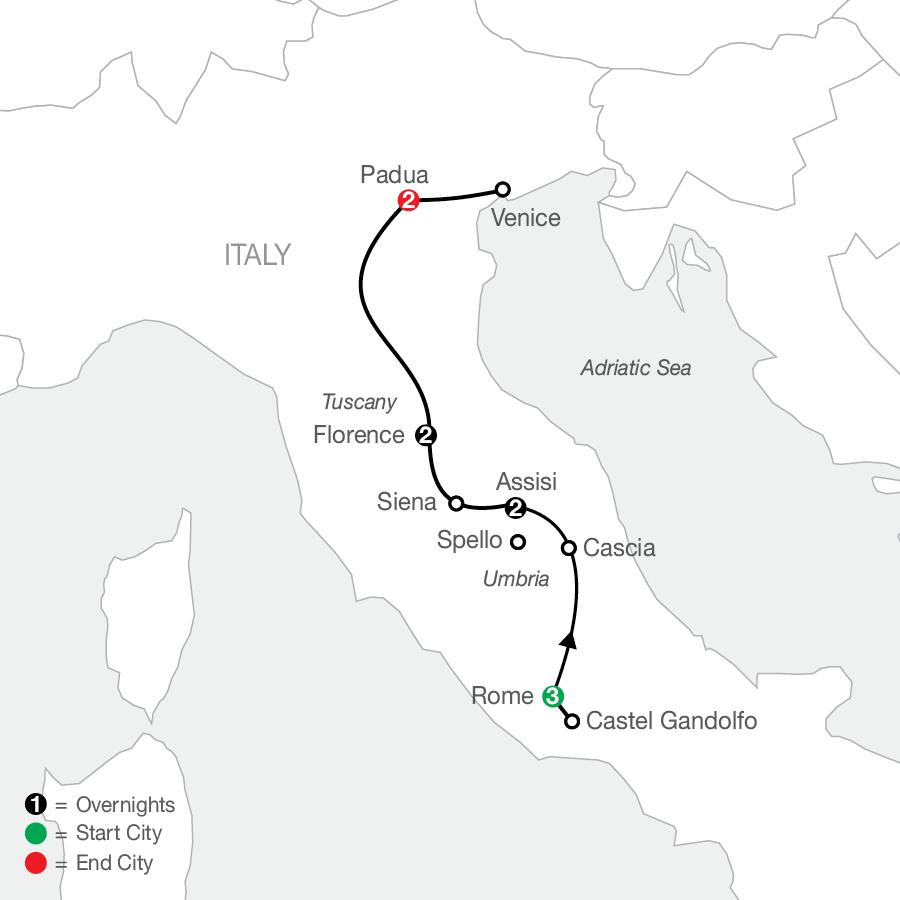 Grand Catholic Italy - Faith-Based Travel map