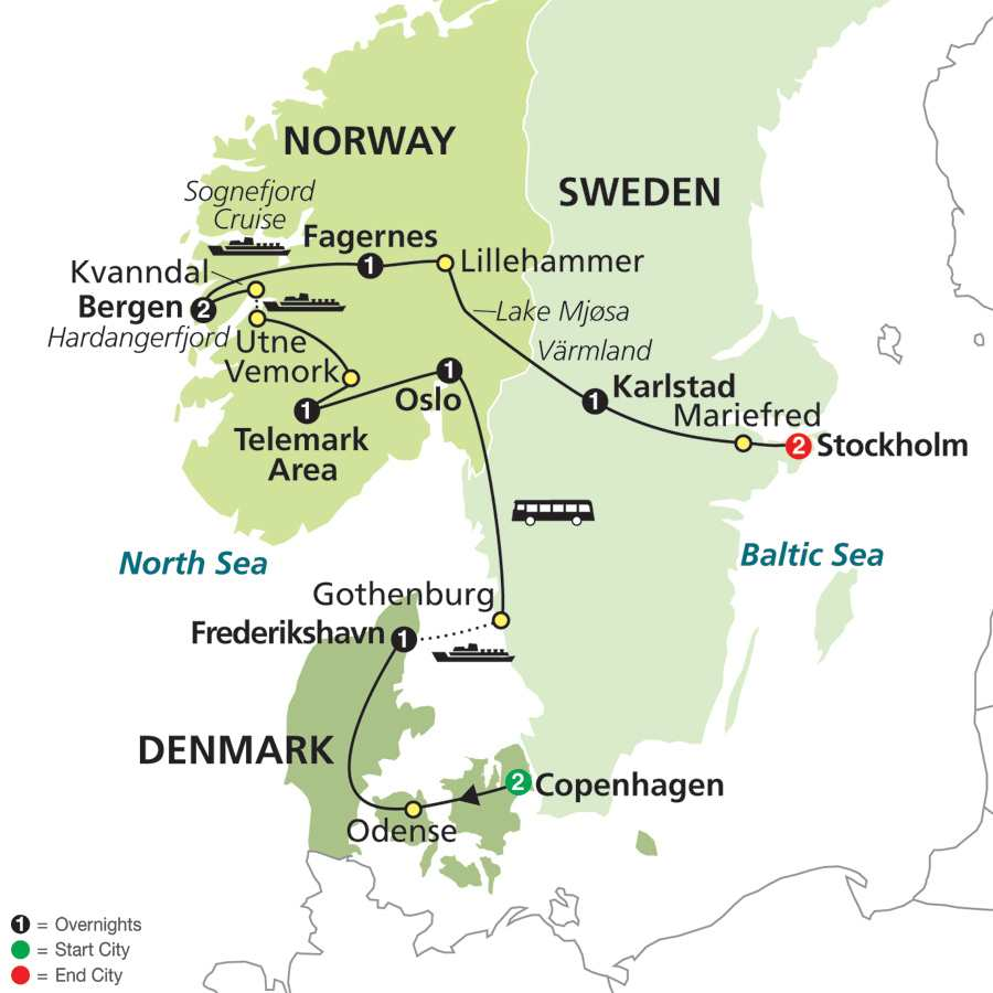 Vacation Overview - Sweden map all cities