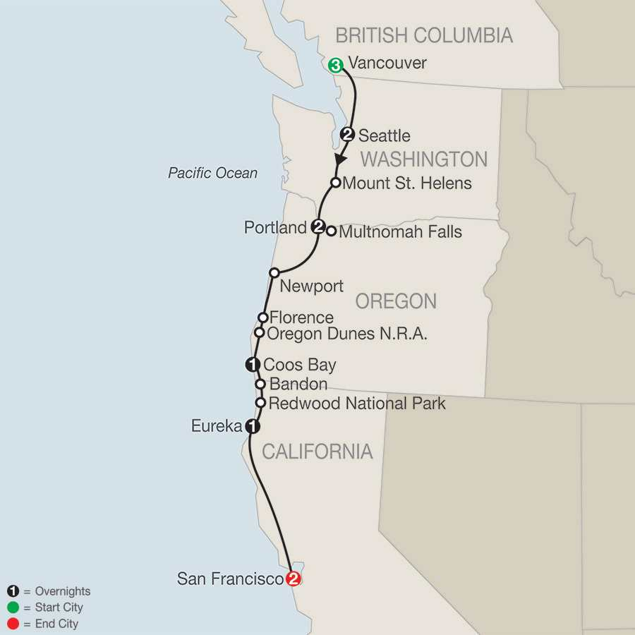 Pacific Coast Adventure with Vancouver map