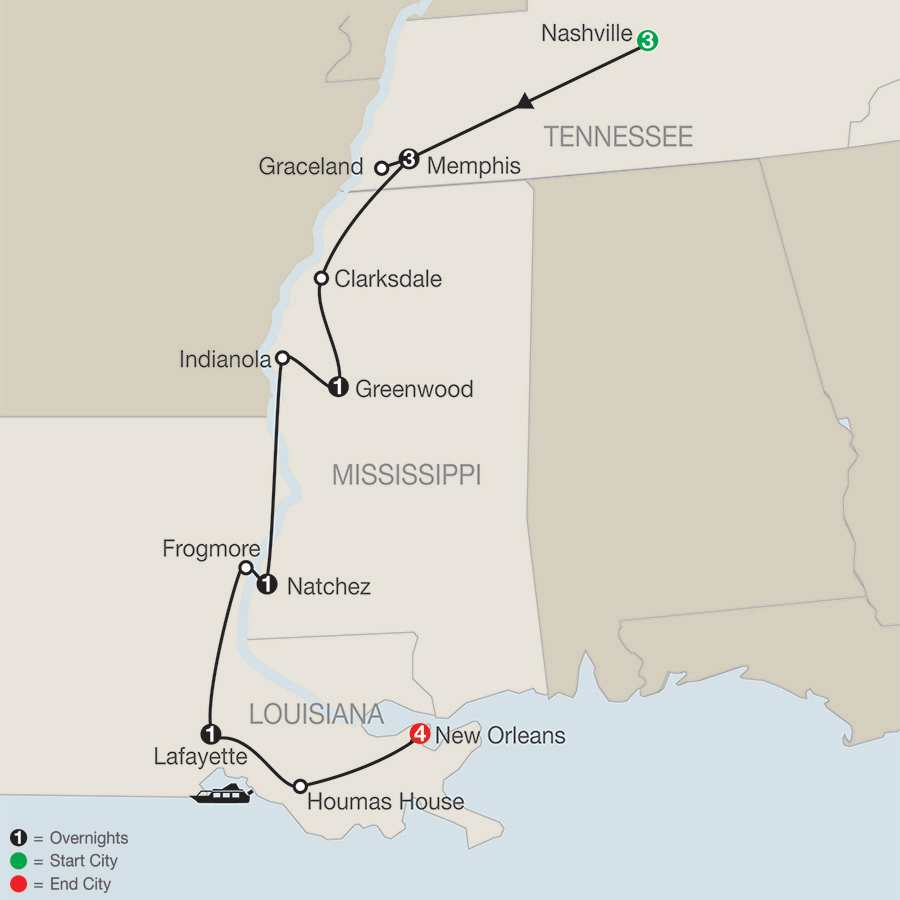 America's Musical Heritage with Elvis' 40th Anniversary Celebration and Extended Stay in New Orleans map