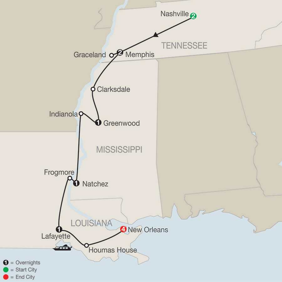 America's Musical Heritage with Extended Stay in New Orleans map