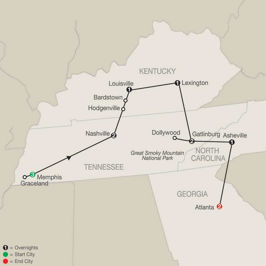 Sights & Sounds of the South with Elvis' 40th Anniversary Celebration and Extended Stay in Atlanta map