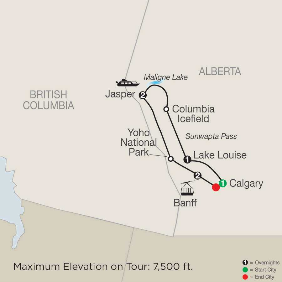 Great Resorts of the Canadian Rockies map