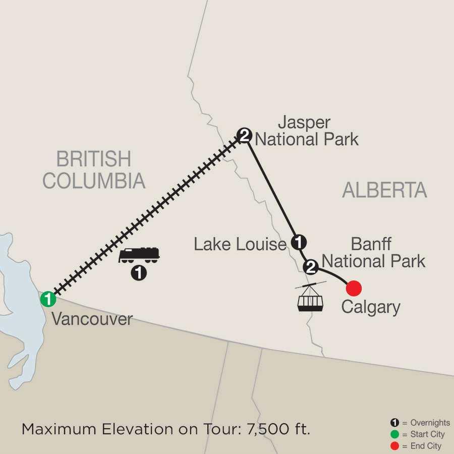 Canadian Rockies Winter Adventure map