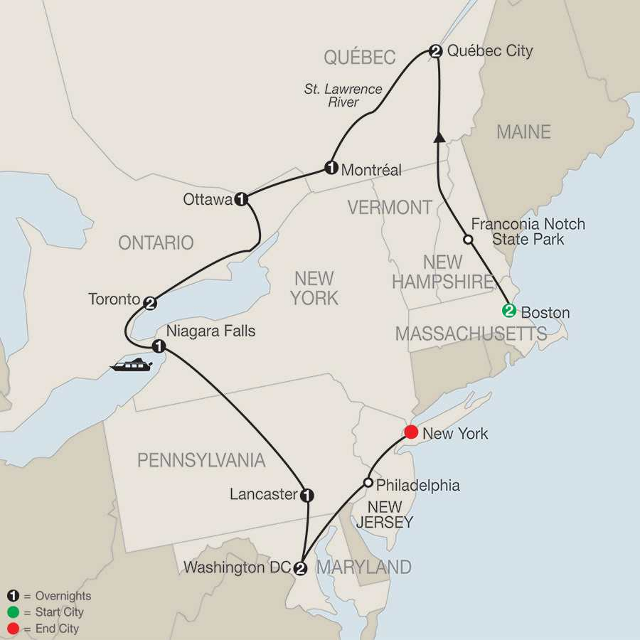 Eastern Canada US Escorted Tour Packages Globus - Ottawa on the us map
